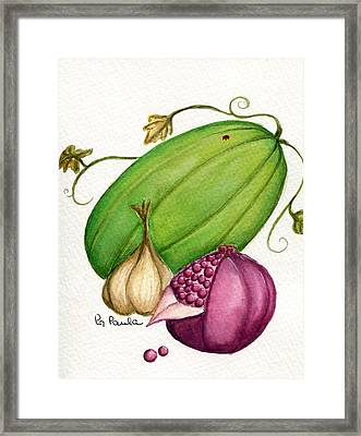 Watermelon Tart Framed Print by Paula Greenlee