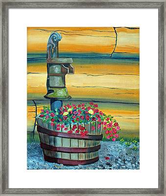 Waterpump And Petunias Framed Print by Amy Reisland-Speer