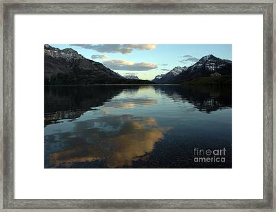 Framed Print featuring the photograph Waterton Lake Sunset Canada by Vivian Christopher