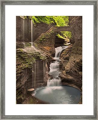Watkins Glen Gorge Framed Print by Cindy Haggerty