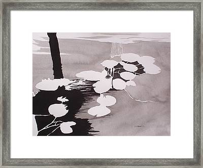 Framed Print featuring the painting Watrer Lillies by Richard Willows