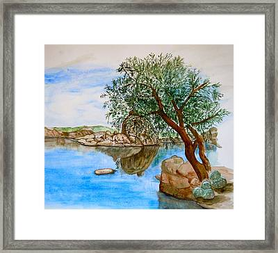 Watson Lake Prescott Arizona Peaceful Waters Framed Print by Sharon Mick