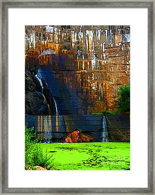 Watson Lake Waterfall Framed Print by Julie Lueders