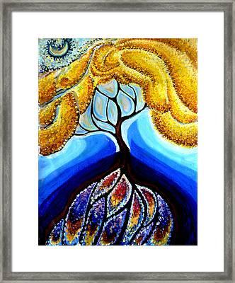 Wattle Or Acacia Tree And Deep Rainbow Pool Framed Print by Helen Duley