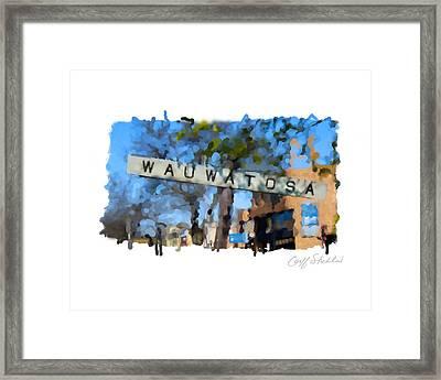 Wauwatosa Railroad Sign Framed Print by Geoff Strehlow
