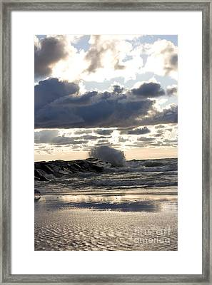 Wave Crashing Into Jetty On Lake Michigan Framed Print by Christopher Purcell