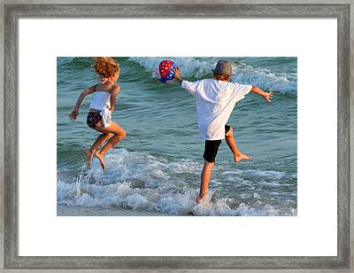 Wave Jumping Framed Print