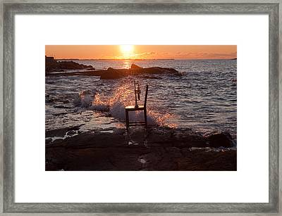 Wave Splash Framed Print by Ron Smith