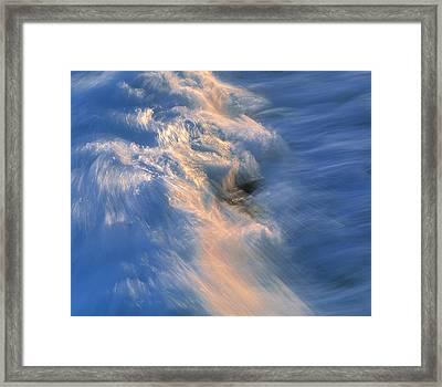 Wave Striking Rock Framed Print by G. Brad Lewis