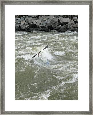 Wave Surfing Kayaker Goes Underwater Framed Print by Skip Brown