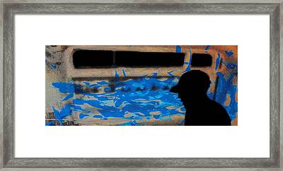 Waves - Siebdruck Kunst Silhouette Framed Print