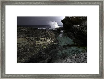Waves At Beavertail Framed Print