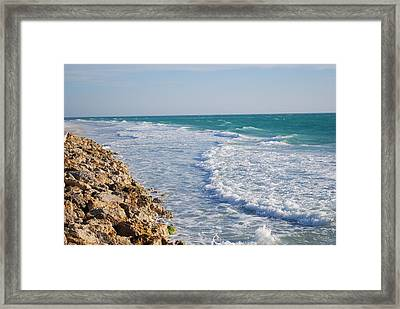 Waves At The Beach Framed Print by Carrie Munoz