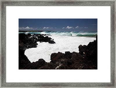 Waves Breaking On Lava Rocks Framed Print by Jenna Szerlag
