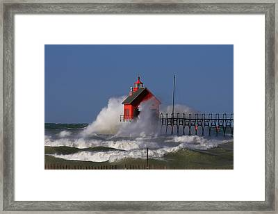 Waves Over The Grand Haven Outer Light Framed Print