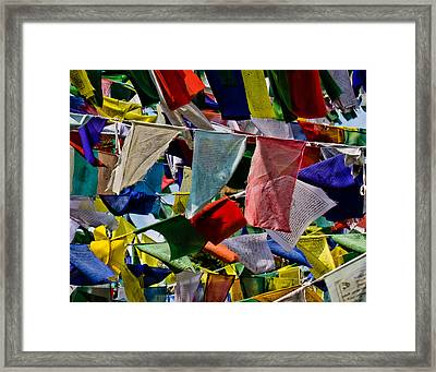 Framed Print featuring the photograph Waving Prayer Flags by Don Schwartz