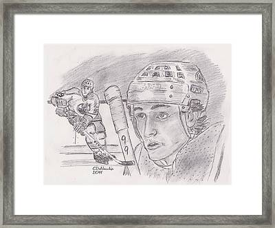 Framed Print featuring the drawing Wayne Gretzky-the Great One by Chris  DelVecchio