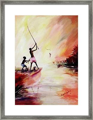 Framed Print featuring the painting We Fished by Oyoroko Ken ochuko