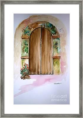 Weathered Door Of Greece Framed Print