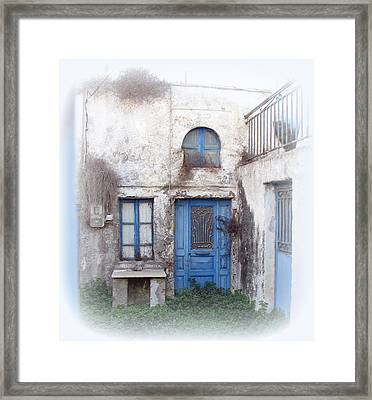 Weathered Greek Building Framed Print by Carla Parris