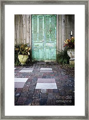 Weathered Green Door Framed Print by Sam Bloomberg-rissman