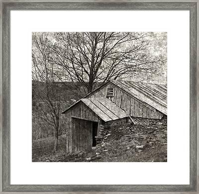Weathered Hillside Barn Framed Print by John Stephens