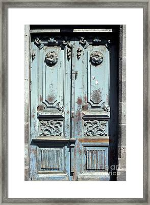 Framed Print featuring the photograph Weathered Quito Door Ecuador by John  Mitchell