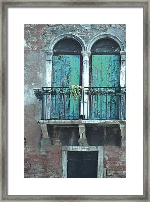 Weathered Venice Porch Framed Print