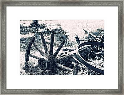 Weathered Wagon Wheel Broken Down Framed Print by Tracie Kaska