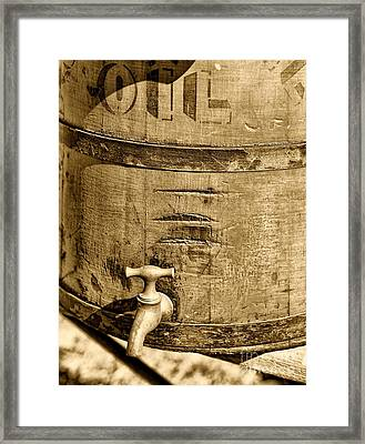 Weathered Wooden Bucket In Sepia Framed Print