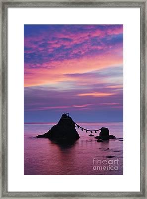 Wedded Rocks Of Futami Framed Print by Jeremy Woodhouse