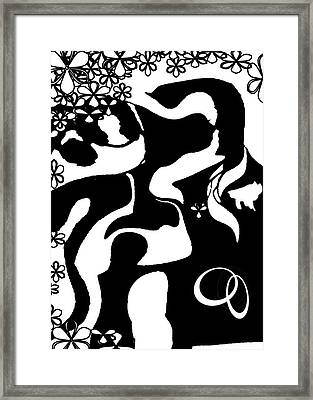 Framed Print featuring the painting Wedding Card 2 by Jann Paxton