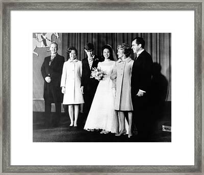 Wedding Of Julie Nixon To David Framed Print by Everett