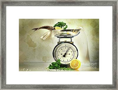 Weight Scale With Fish  Framed Print