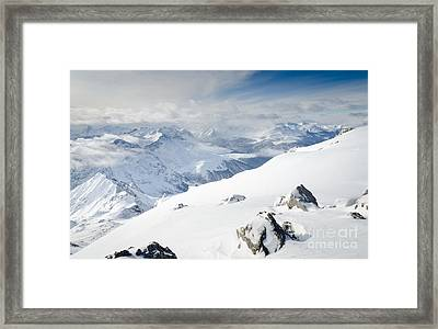 Weissfluhgipfel Summit View From The Summit Across Davos Framed Print by Andy Smy