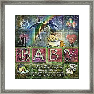 Framed Print featuring the digital art Welcome Baby Girl by Evie Cook