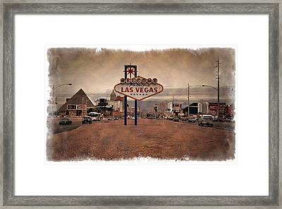 Welcome To Las Vegas Sign 1997 - Impressions Framed Print