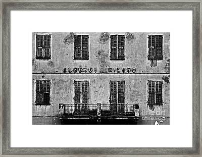 Framed Print featuring the photograph Welcome To The Hotel Milano by Andy Prendy
