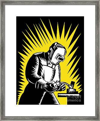 Welder Metal Worker Welding Retro  Framed Print by Aloysius Patrimonio