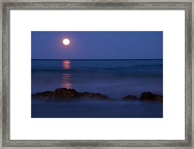Wells Beach Maine Moonrise Framed Print