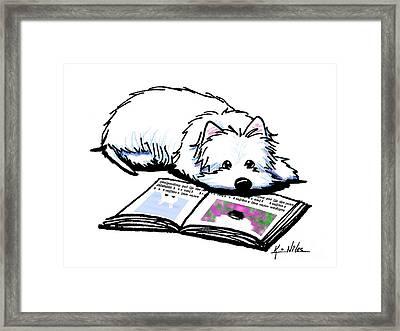 Wendell Loves Books Framed Print by Kim Niles