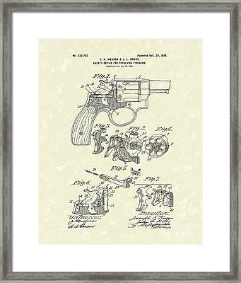 Wesson And Hobbs Revolver 1899 Patent Art Framed Print by Prior Art Design