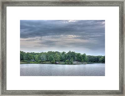 West Bank Of Lake Sunset Framed Print by Barry Jones