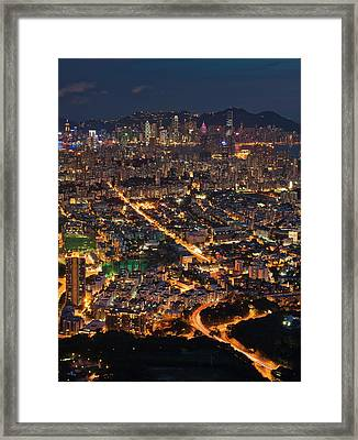 West Hongkong At Night Framed Print by Coolbiere Photograph