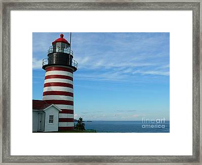 Framed Print featuring the photograph West Quoddy Lighthouse by Jeanne  Woods
