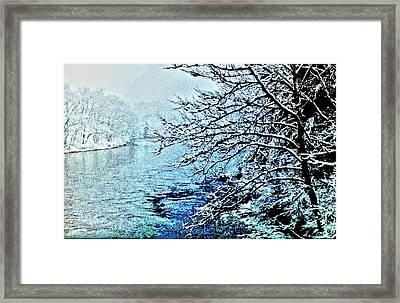 West River Snow Framed Print