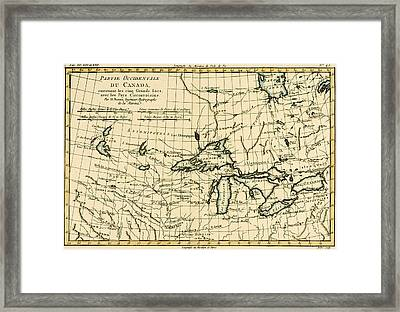 Western Canada And The Five Great Lakes Framed Print by Guillaume Raynal