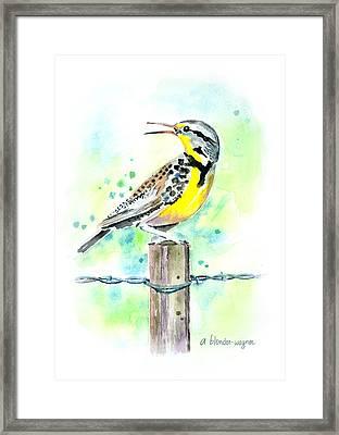 Western Meadowlark Framed Print by Arline Wagner