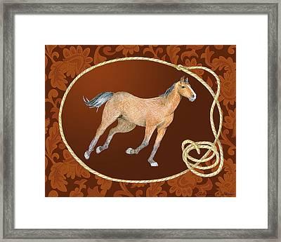 Western Roundup Running Horse Framed Print