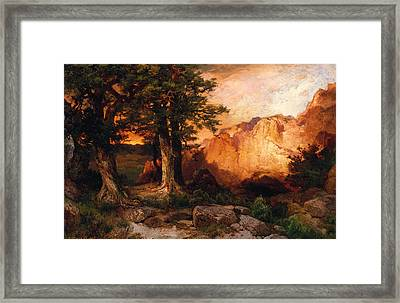Western Sunset Framed Print by Thomas Moran